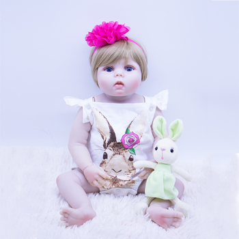 DOLLMAI latest chubby bebe girl reborn doll Realistic silicone vinyl Fake baby shower toy with bottle Pacifier toys for children