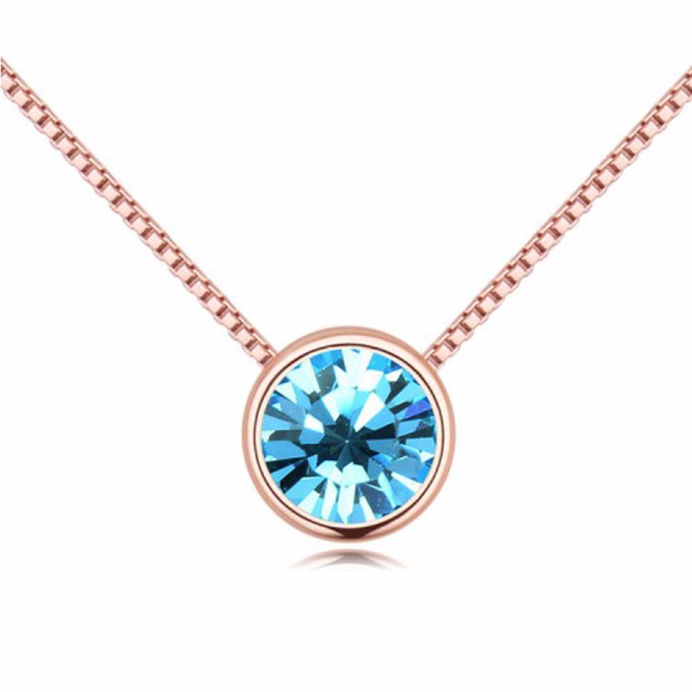 Crystals From Swarovski Purple Round Necklaces Pendants Rhinestone Classic Rose Gold Color Blue Necklace For Women Jewelry Gift