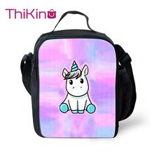Thikin Unicorn Cooler Lunch Box School Portable Insulated Bag Tote PouchThermal Food Picnic Bags For Women Kids
