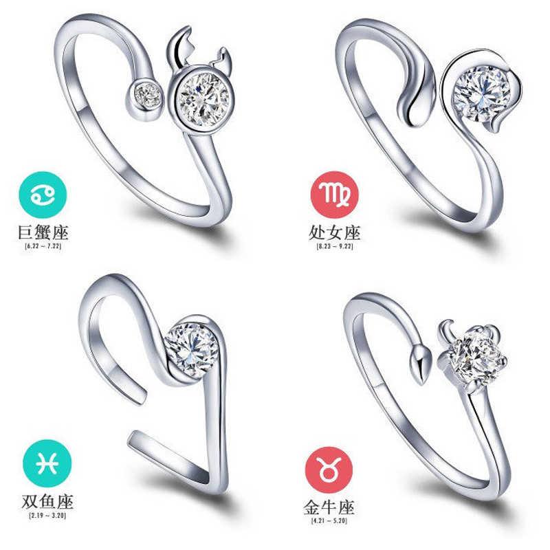 12 Zodiac Ring Aries Taurus Gemini Cancer Virgo Libra Scorpius Sagittarius Capricornus Wedding Love CZ Open Adjustable Rings