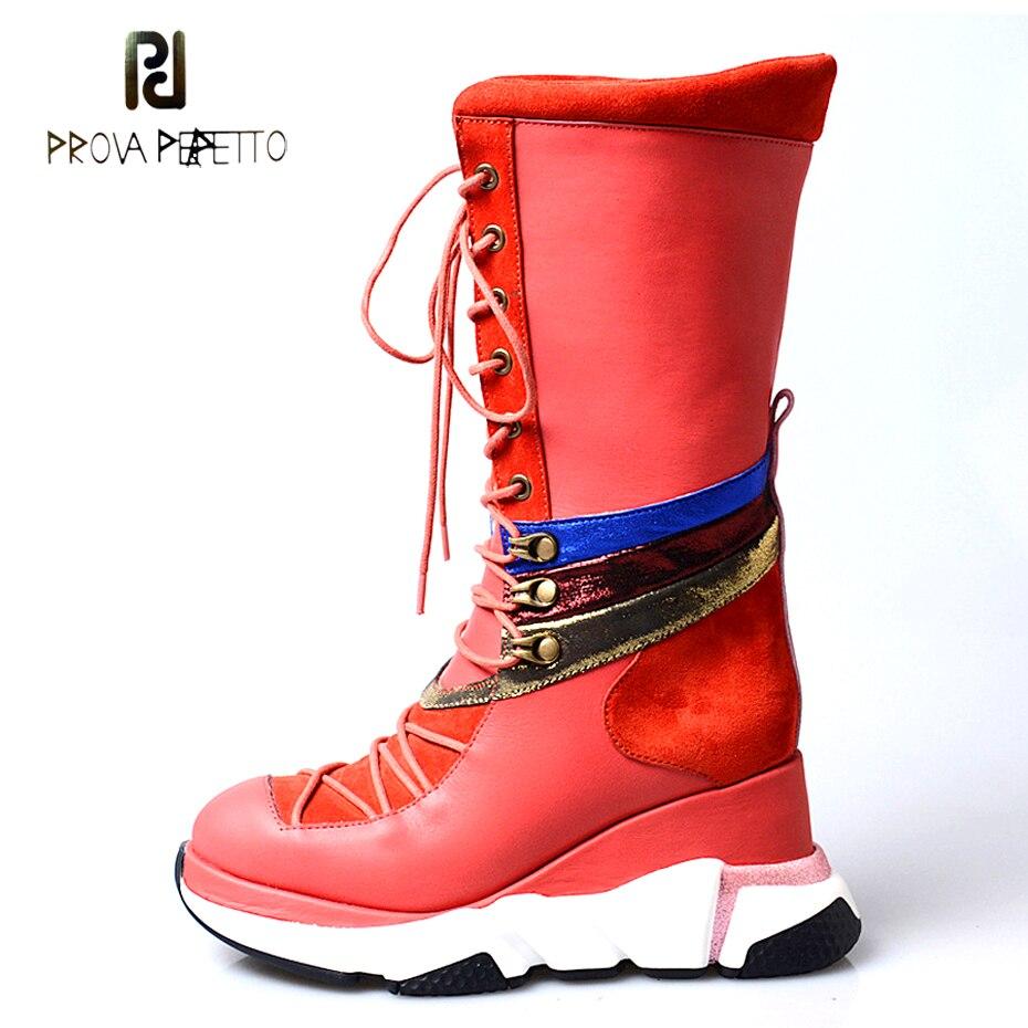 Prova Perfetto noir rouge en cuir véritable à lacets bottes décontractées femmes chaussures de sport plate forme accrue bottes mi mollet talon compensé-in Bottines from Chaussures    1