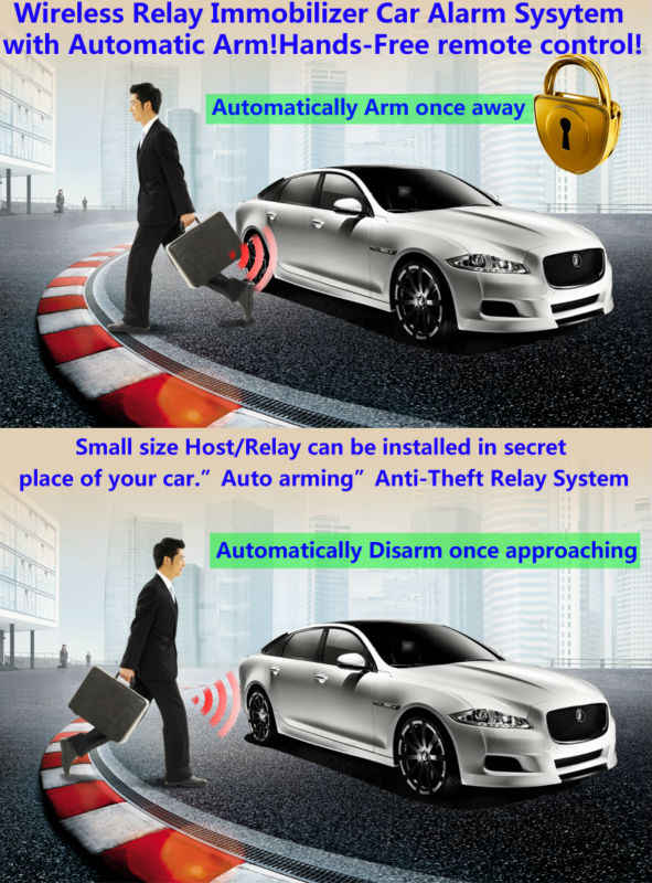 RFID wireless car alarm immobilizer ignition circuit start relay 433Mhz  long range automatically cut-off car anti-theft device