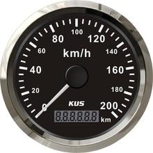 Speedometer KUS 85mm-Speed Yellow Gauge Universal Waterproof Backlight Red And 200km/H