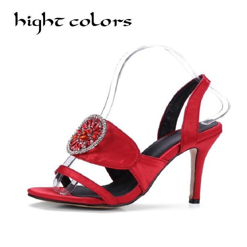 2018 Gladiator Sandals Women Summer Shoes Ladies Thick High Heels Sandals For Woman Ankle-Wrap Sandalias Mujer Black Red 2017 new ankle wrap rhinestone high heel shoes woman abnormal jeweled heels gladiator sandals women pvc padlock sandals shoes
