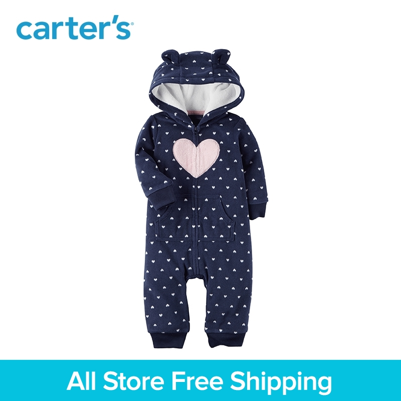 Cute heart print cozy soft fleece bear ears hooded jumpsuit zip-up one-piece Carter's baby girl clothing fall spring 118H684 hp as615aa