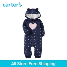 Cute heart print cozy soft fleece bear ears hooded jumpsuit zip-up one-piece Carter's baby girl clothing fall spring 118H684