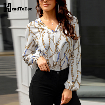 b715d593 2019 blusa Casual con estampado de cadena para mujer, elegante camisa de  manga larga para oficina