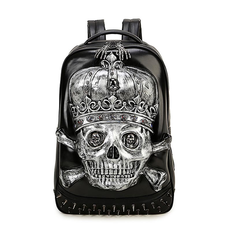 Skull Head Design PU Leather Backpack Men Backpacks For Teenage Boys School Bags Women Laptop Backpacks Girls Travel Bags anime noragami aragoto yato backpack for teenage girls boys cartoon yukine children school bags casul book bag travel backpacks
