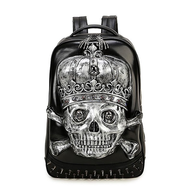Skull Head Design PU Leather Backpack Men Backpacks For Teenage Boys School  Bags Women Laptop Backpacks Girls Travel Bags 99a537e0f62a5