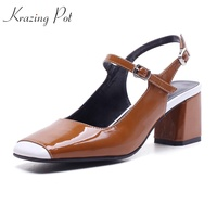 Krazing Pot 2018 square toe thick high heels ankle straps slingback Korean mixed color shallow preppy style women sandals L80