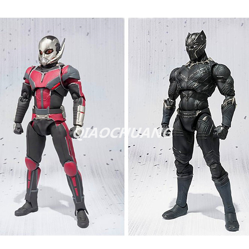 SHFiguarts Captain America : Civil War Superhero Black Panther / Ant Man PVC Action Figure Collectible Model Toy Boxed W148