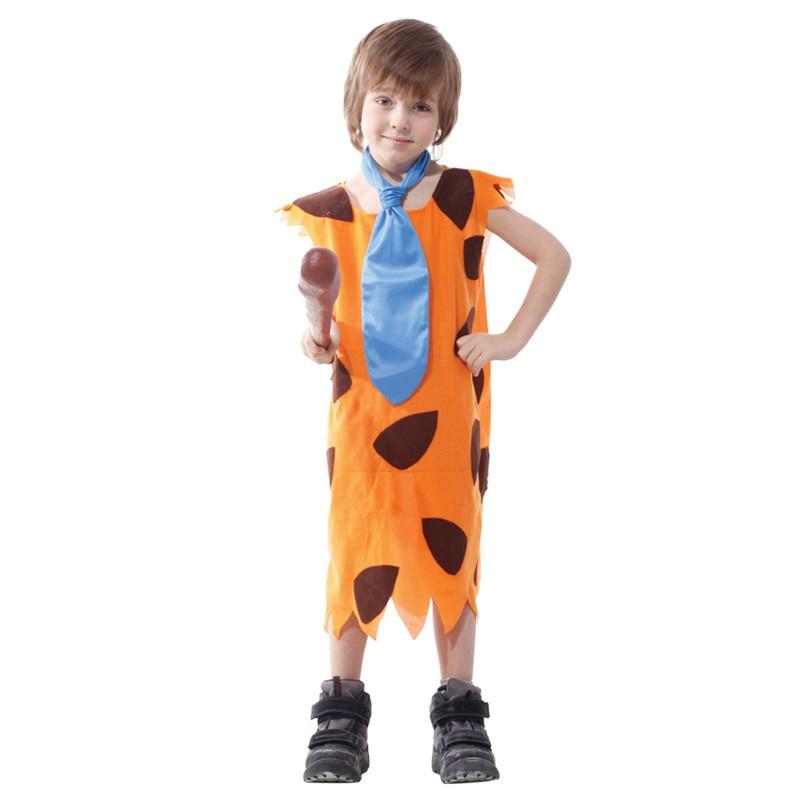 Kids Child Stone Age Indian Boy Flinstones Costume Primitive Savages Cosplay Halloween Carnival Party Mardi Gras Fancy Dress 1