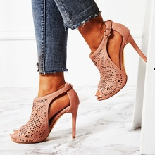2019 Newest Sandals Bootie Hollow High Heel Cut Out Peep Toe Buckle Summer Shoes Woman Dress Gladiator High Vamp Short Boots newest 2017 name brand black gold strap high heel sandals back zipper cage shoes woman women size 34 41 gladiator sandals boots