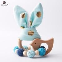 Laten we 2 pc/1 lot Baby Bijtring Bunny Ear DIY Tandjes Houten Armbanden Gemaakt Beuken Dieren Douche gift Play Gym Speelgoed Baby Rammelaar