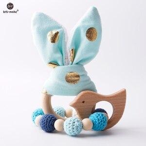 Image 1 - Yapalım 2 adet/1 grup bebek diş kaşıyıcı tavşan kulak DIY diş çıkarma ahşap bilezikler yapımı kayın hayvanlar duş hediye oyun spor oyuncak bebek çıngırak