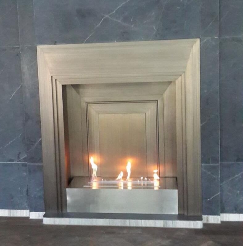 18 Inch Long Remote Control Intelligent Silver Wifi Ethanol Fireplace Marble