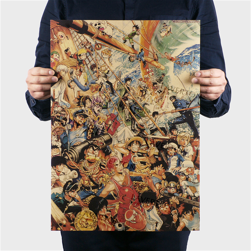 Free shipping,Character B Style/classic Japanese Cartoon Comic/kraft paper/bar poster/Retro Poster/decorative painting 51x35.5cm