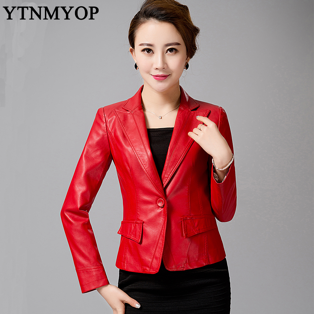 YTNMYOP Women's   Leather   Jacket 2018 Spring Blazer Outerwear Plus Size S-4XL One Button Suit   Leather   Coat Red   Leather   Clothing