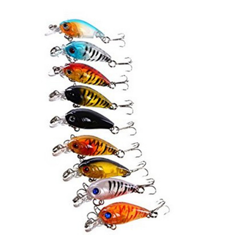 9 pcs Set of Bass Fishing Baits China CrankBait Plastic Hard Crank Fishing Bait Deep Sea Trout Face Accessories