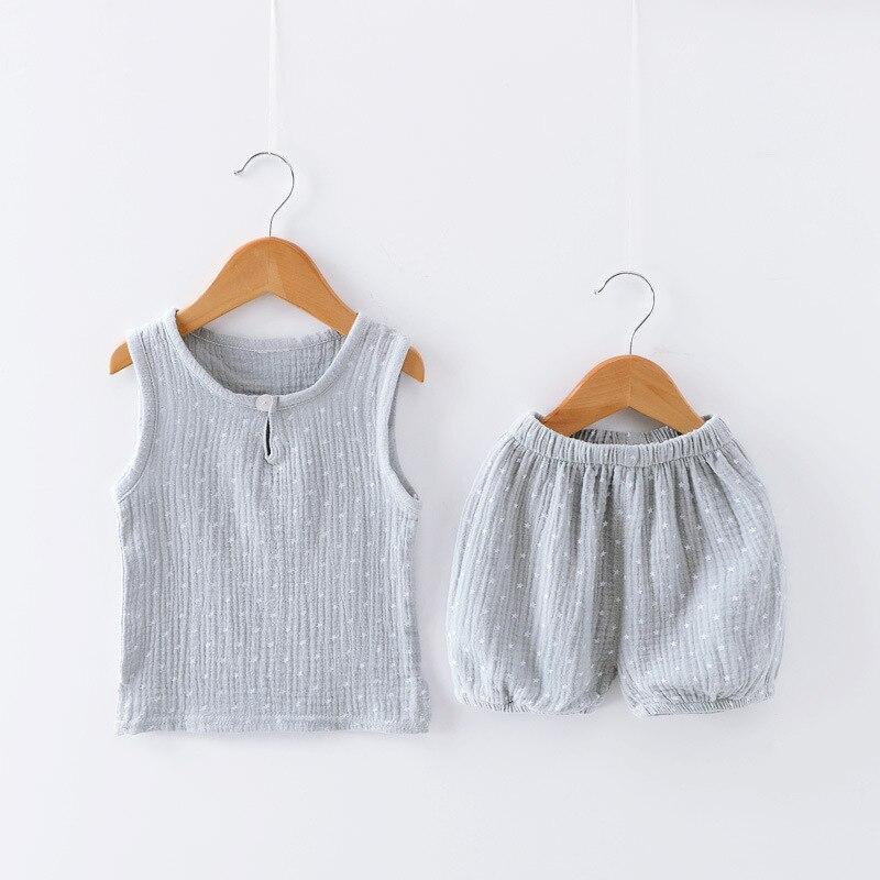 Baby Boys Girls Clothes Cotton Linen Sleeveless Vest Shorts 2 Pcs Suit Children Sets Kids Clothing Kids Bobo Toddler Sets 0 5T|Clothing Sets|   - title=