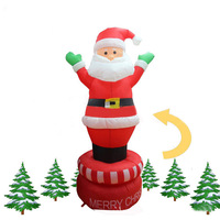 5.9 Foot Inflatable Christmas Santa Claus Can Be Rotated Dance With Green Hand Yard Decoration