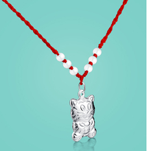 The Chinese style 925 sterling silver pendant for women tiger pendant rope chain ethnic lady's jewelry birthday gift for friend