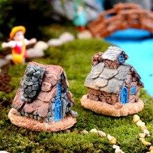 feliz venta miniatura casa de piedra estatua de decoracin del hogar ornamento de hadas jardn nov