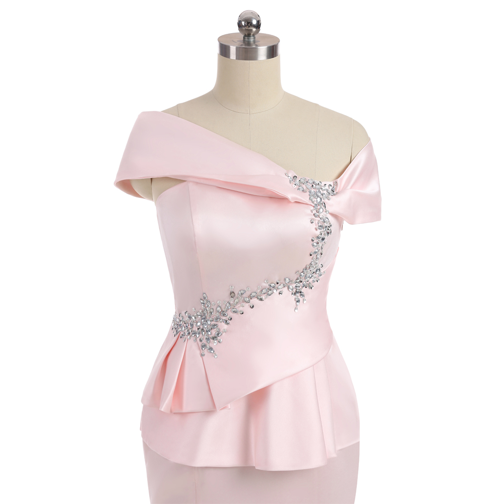 Pink 2018 Mother Of The Bride Dresses Mermaid Cap Sleeves Satin Beaded Slit Wedding Party Dress Mother Dresses For Wedding 5