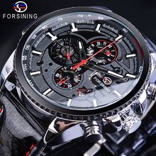 Forsining Mens Mechanical Wrist Watch Automatic Self Wind Calendar 3 Sub Dial Shiny Black Genuine Leather Military Relogio Clock forsining men watch self winding mechanical multifunction dial wrist watches mens dress leather band casaul clock 2017 new box