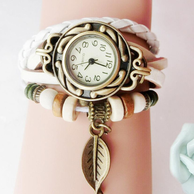 erkek kol saati Dropship Women Watch Bracelets Retro PU Leather Bracelet Leaf Pe