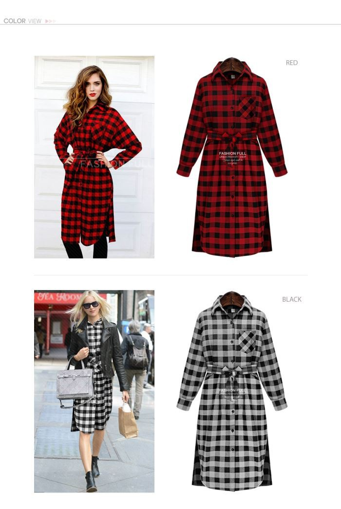 Autumn Plaid Dress Fashion Brand New Ladies Long Sleeve Lapel  T Shirt Dress Women Casual Dress Vestidos  607-8797 (8)