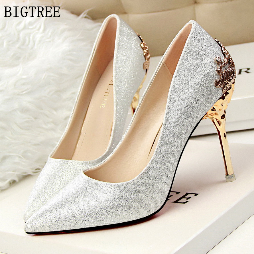 BIGTREE Women Pumps Crystal High Heels Shoes 2018 Spring Women Shoes Fashion Pointed Toe High Heels Wedding Shoes Satin siketu 2017 free shipping spring and autumn high heels shoes fashion women shoes wedding shoes sex wild pumps g427