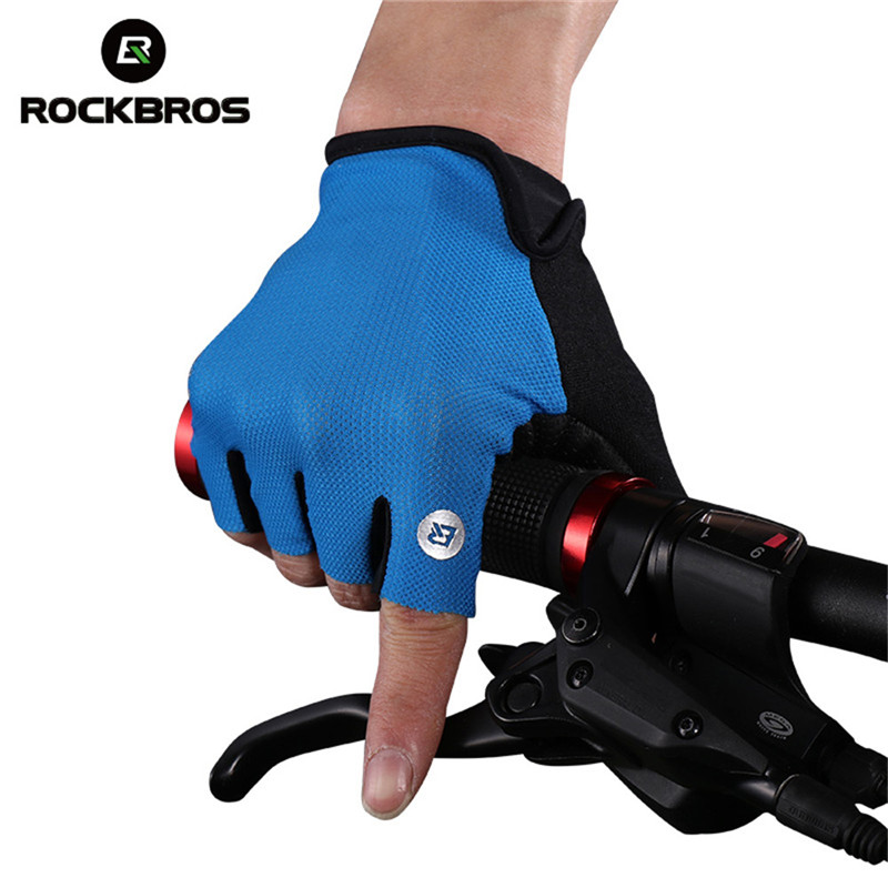 1Pair ROCKBROS Cycling Gloves Half Finger Bike Shockproof Breathable MTB Mountain Bicycle Men