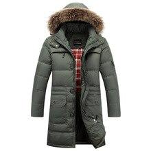 2016 4 Color Men's Thickening Long Duck Down Jacket Winter Jacket Men Hooded Outwear Real Big Fur Collar Parka Men JS-0765