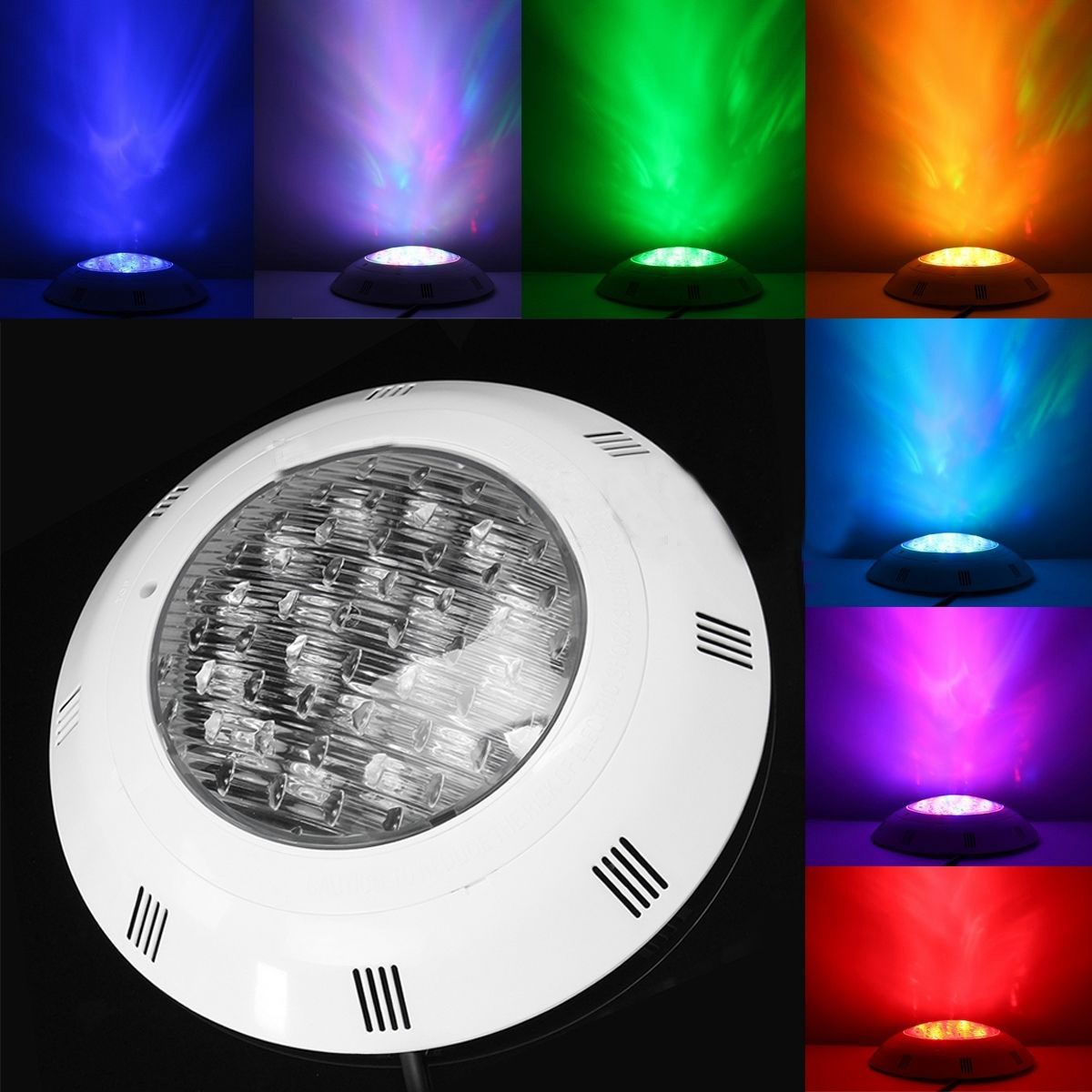 CSS 7 Colors 24V 18W LED RGB Underwater Swimming Pool Bright Light /Remote Control