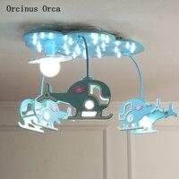 Cartoon Kreative Blau Hubschrauber Kronleuchter Jungen Mädchen Schlafzimmer Kinderzimmer Licht Moderne Einfache LED Farbe Flugzeug Kronleuchter