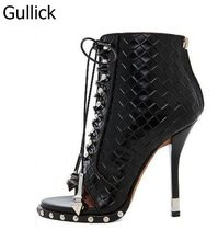 Newest Designer Black White Embossed Leather Open Toe Studded Ankle Boots Lace-up Gladiator Sandal For Women Free Ship