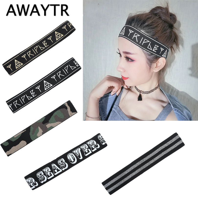 AWAYTR 4 cm Width Unisex Sports Elastic Headband for Women Hair Accessories Hairband For Men Letter Printed   Headwear   Hip Hop