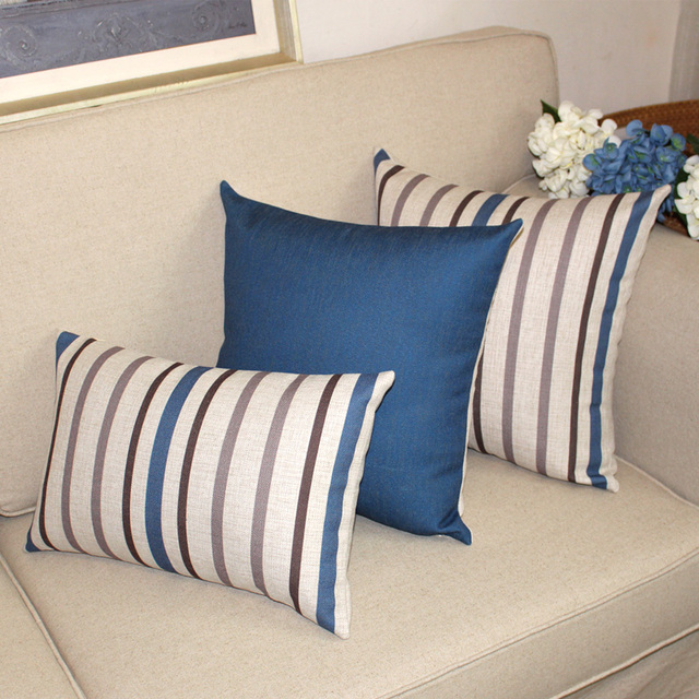 American Style Solid Stripe Cushion Covers Cotton Linen Pillow Cover