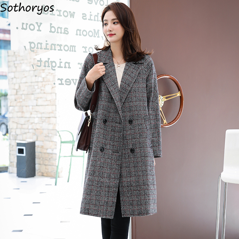 Blends Women Winter Plaid Simple All-match Turn-down Double Breasted Coats Womens Pockets Retro Korean Style Elegant Outerwear