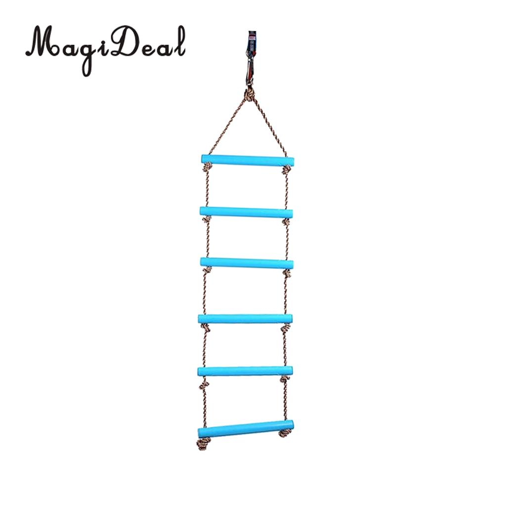 MagiDeal Kids Indoor and Outdoor Home Party Playhouse 6 Rungs Rope Climbing Ladder Toy for Role Game Playing