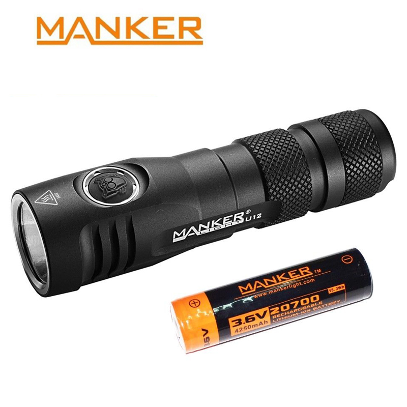 Manker U12 2000 Lumens CREE XHP50 II LED Flashlight With Type C USB Cable 20700 Rechargeable Battery Pocket Clip Holster Hunting