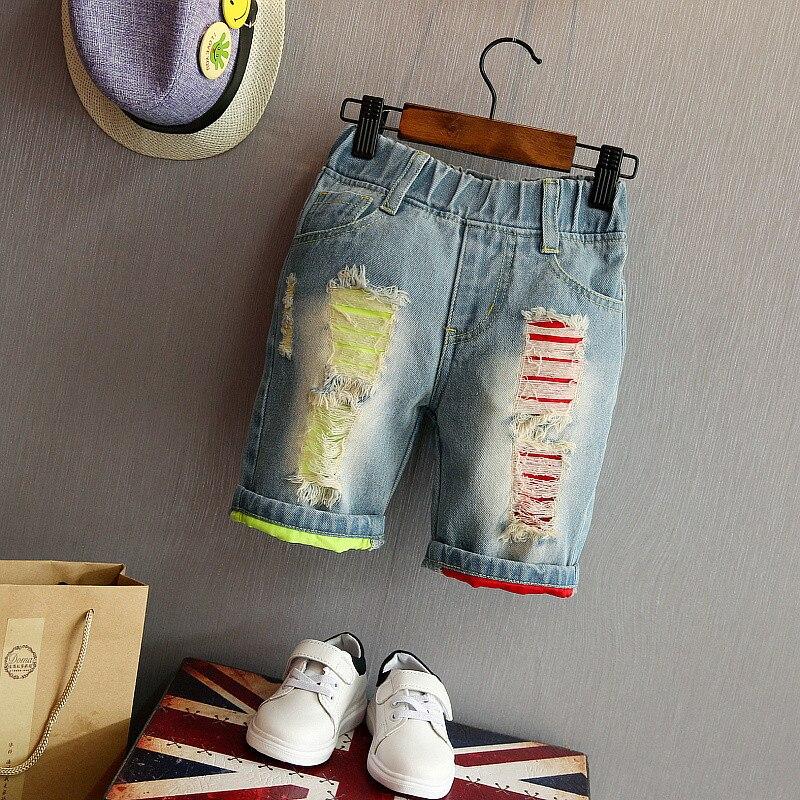 bosudhsou Jeans Lhp-13 Sommer Casual Baby Jungen Denim Kurzen Hosen Mode Kinder Shorts Jeans Elastische Taille Kid Cowboy Hosen Hohe QualitäT Und Preiswert