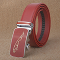 [TG] nuevo estilo Caliente de la manera hombres de la correa de cuero genuino de cuero Real de lujo hombre de negocios cinturones de hebilla automática hombres rojos de alta calidad