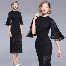 Европейское модное весеннее тонкое длинное платье с бусинами