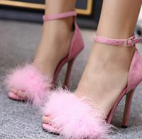 2018 summer new star with the same feather high heel sandals furry hollow sexy shoes single shoes