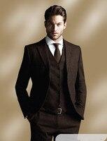 2017 Nieuwste Jas Broek Ontwerpen Donkerbruin Tweed Wedding Suits voor mannen Terno Slim Fit 3 Stuk Tuxedo Custom Prom Blazer Masculino