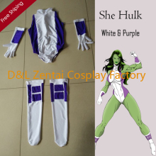 Free Shipping DHL Sexy Women She Hulk Costume White and Purple Lycra Spandex Superhero Zentai Catsuits SHS416