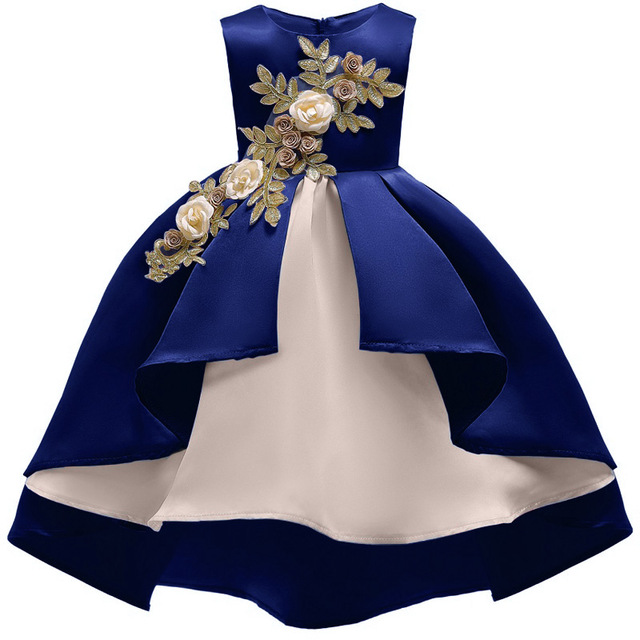 Baby Girl Embroidery Silk Princess Dress For Wedding Party
