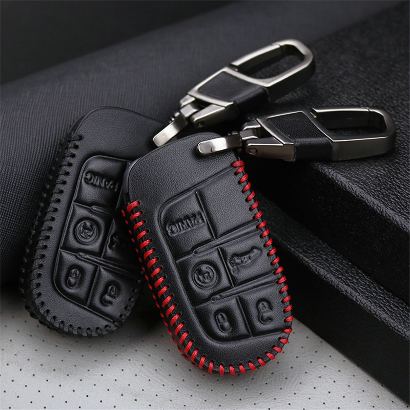 Genuine Leather Car Smart Key Case Cover For Dodge Ram 1500 Journey Charger Dart Challenger Durango For Fiat Jeep Key Ring Shell